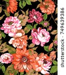 flowers pattern.for textile ... | Shutterstock . vector #749639386