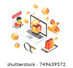 online shopping isometric... | Shutterstock .eps vector #749639572