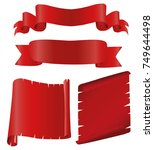 realistic red glossy vector...   Shutterstock .eps vector #749644498