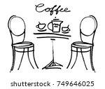 coffee doodle concept. vector... | Shutterstock .eps vector #749646025