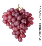 Fresh red grapes branch. Isolated on white background - stock photo