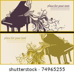 Vector Set Of Two Music Cards...
