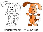 spotted dog colored vector... | Shutterstock .eps vector #749665885