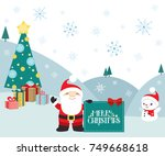 christmas winter scene with... | Shutterstock .eps vector #749668618