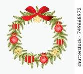christmas wreath vector image.... | Shutterstock .eps vector #749668972