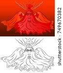 erupting volcano cartoon vector ... | Shutterstock .eps vector #749670382