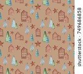 watercolor christmas seamless... | Shutterstock . vector #749686858