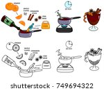 recipe mulled wine drink vector ... | Shutterstock .eps vector #749694322