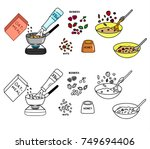 recipe oatmeal vector diy... | Shutterstock .eps vector #749694406