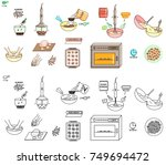 recipe almond cookies vector... | Shutterstock .eps vector #749694472