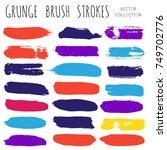 brush strokes set backgrounds.... | Shutterstock .eps vector #749702776