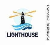 lighthouse logo design. vector... | Shutterstock .eps vector #749706976