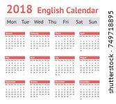 2018 european english calendar. ... | Shutterstock .eps vector #749718895