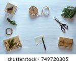 christmas gift packaging... | Shutterstock . vector #749720305