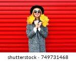 fashion autumn happy smiling... | Shutterstock . vector #749731468