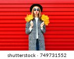 fashion autumn young woman with ... | Shutterstock . vector #749731552