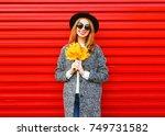 fashion autumn smiling woman... | Shutterstock . vector #749731582