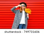 fashion autumn young woman with ... | Shutterstock . vector #749731606