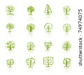 set of sketch trees for your... | Shutterstock .eps vector #74974075