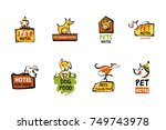 food dog. pet friendly hotel.... | Shutterstock .eps vector #749743978