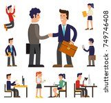 four illustrations of cartoon... | Shutterstock .eps vector #749746408