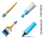 paint tube  marker and brush... | Shutterstock .eps vector #74974654