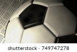 white black soccer ball on the...   Shutterstock . vector #749747278