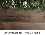 Christmas Card On Wooden...