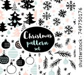 set of winter seamless patterns ... | Shutterstock .eps vector #749750176
