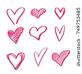 set of 6 red handdrawn hearts.  ... | Shutterstock .eps vector #749753485