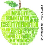 executive function adhd word... | Shutterstock .eps vector #749756365