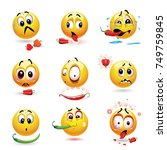 smiley making funny faces while ... | Shutterstock .eps vector #749759845