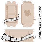 ticket with film strip | Shutterstock .eps vector #74976154