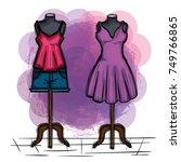 female fashion dress icon | Shutterstock .eps vector #749766865