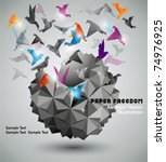 paper freedom  origami abstract ... | Shutterstock .eps vector #74976925