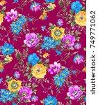 watercolor flower pattern | Shutterstock . vector #749771062