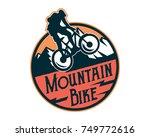 vintage downhill bike logo... | Shutterstock .eps vector #749772616