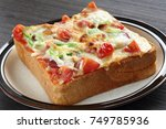pizza toasted bread | Shutterstock . vector #749785936