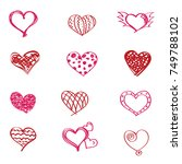 collection of hand drawn red... | Shutterstock .eps vector #749788102