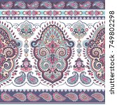indian floral paisley seamless... | Shutterstock .eps vector #749802298