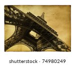 Vntage Postcard With Eiffel...