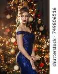 beautiful woman with fashion... | Shutterstock . vector #749806516