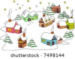 village during the winter | Shutterstock .eps vector #7498144