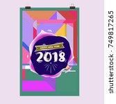 new year 2018 calendar cover... | Shutterstock .eps vector #749817265