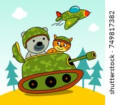 cute soldier riding a small tank | Shutterstock .eps vector #749817382