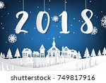 2018 lettering with snowflake...   Shutterstock .eps vector #749817916
