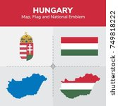 hungary map  flag and national... | Shutterstock .eps vector #749818222