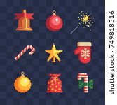 pixel art christmas icons set.... | Shutterstock .eps vector #749818516