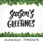 season's greetings hand drawn... | Shutterstock .eps vector #749824678