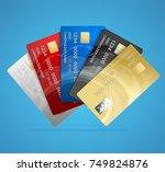 realistic credit plastic card...   Shutterstock . vector #749824876
